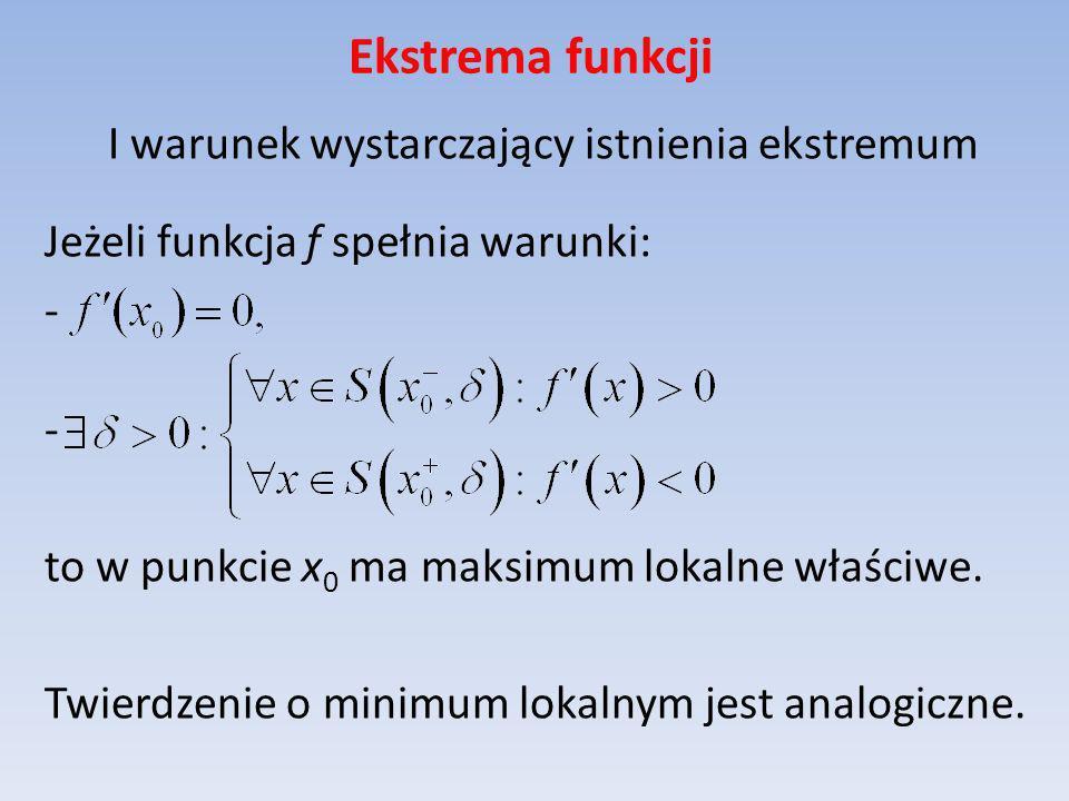 Ekstrema funkcji I warunek wystarczający istnienia ekstremum Jeżeli funkcja f spełnia warunki: - to w punkcie x 0 ma maksimum lokalne właściwe. Twierd
