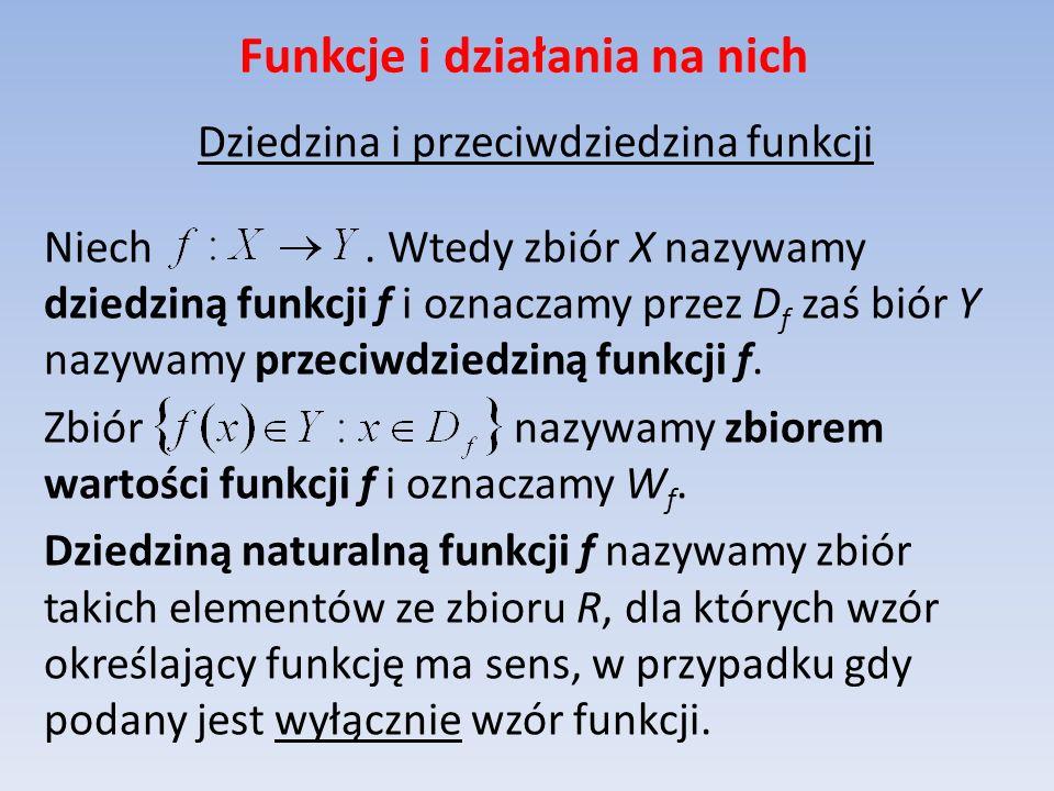 Dziedzina i przeciwdziedzina funkcji Niech. Wtedy zbiór X nazywamy dziedziną funkcji f i oznaczamy przez D f zaś biór Y nazywamy przeciwdziedziną funk