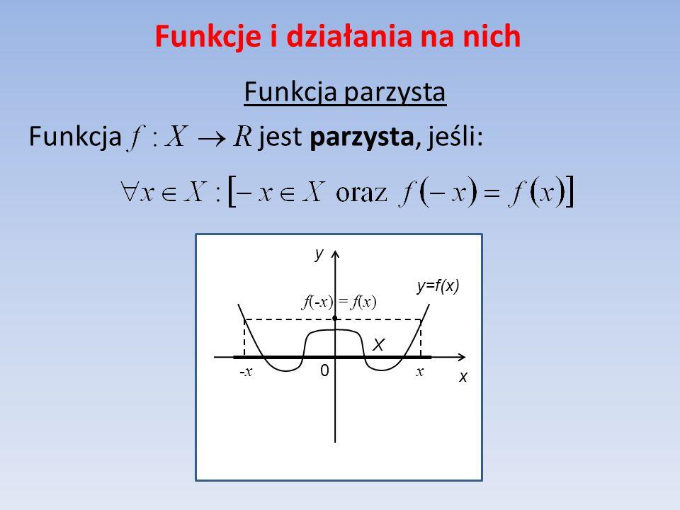 Funkcje i działania na nich Funkcja parzysta Funkcja jest parzysta, jeśli: y=f(x) x y 0 X x-x f(-x) = f(x)