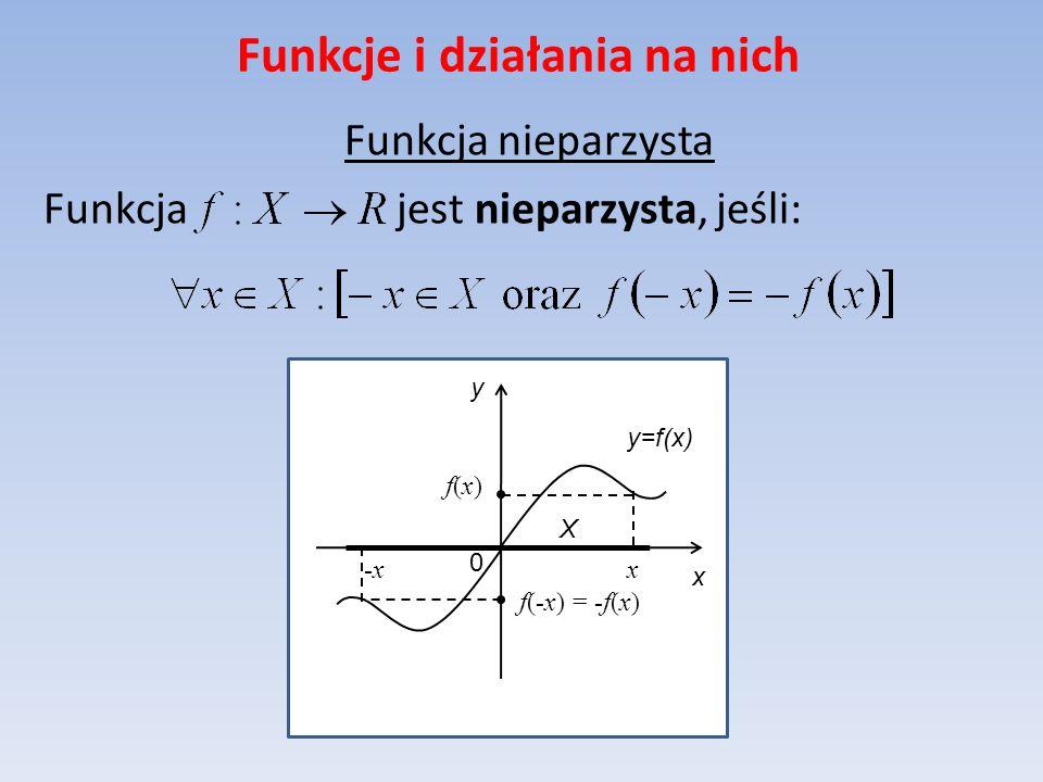 Funkcje i działania na nich Funkcja nieparzysta Funkcja jest nieparzysta, jeśli: y=f(x) x y 0 X x-x f(x)f(x) f(-x) = -f(x)