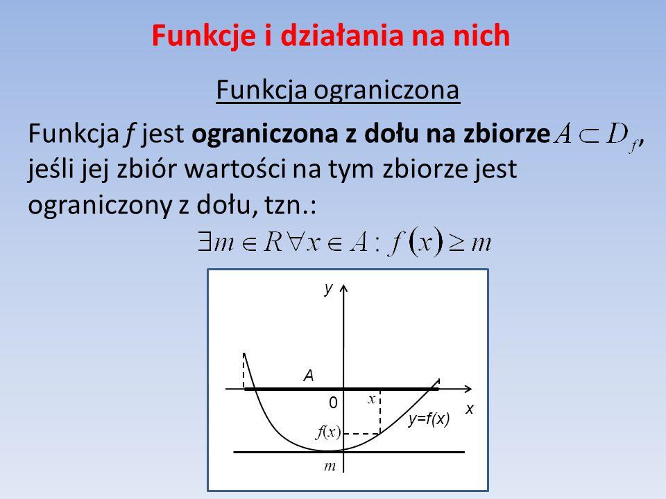Funkcje i działania na nich Funkcja ograniczona Funkcja f jest ograniczona z dołu na zbiorze, jeśli jej zbiór wartości na tym zbiorze jest ograniczony