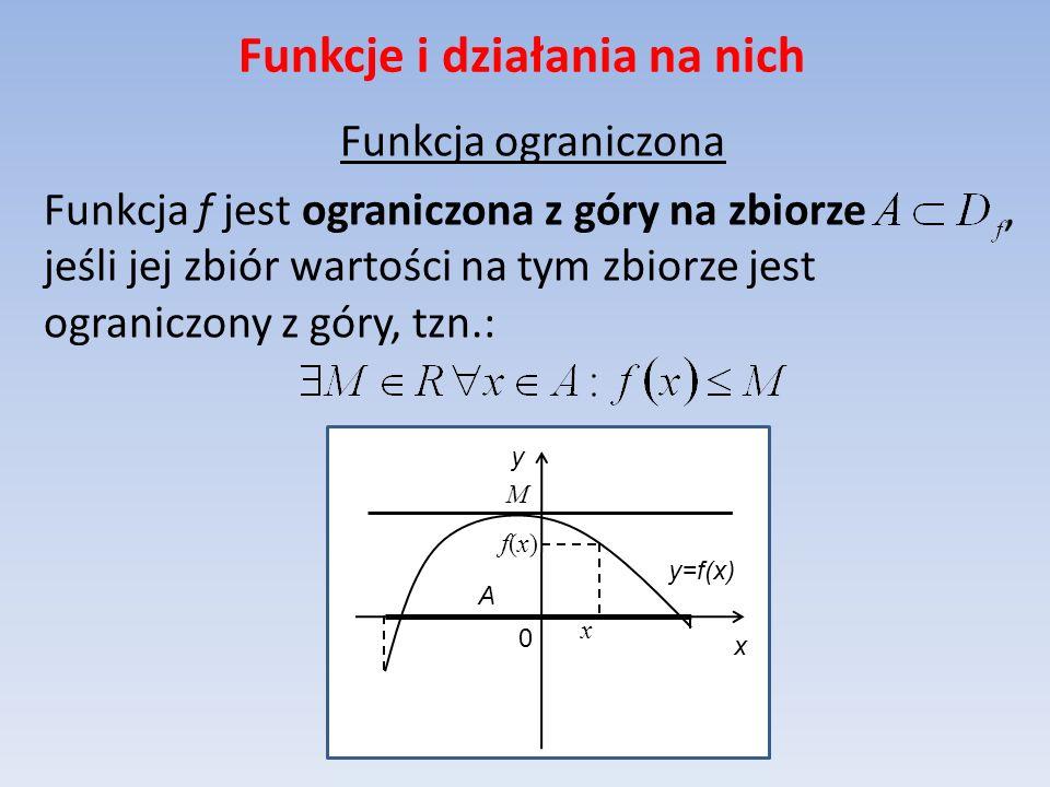 Funkcje i działania na nich Funkcja ograniczona Funkcja f jest ograniczona z góry na zbiorze, jeśli jej zbiór wartości na tym zbiorze jest ograniczony