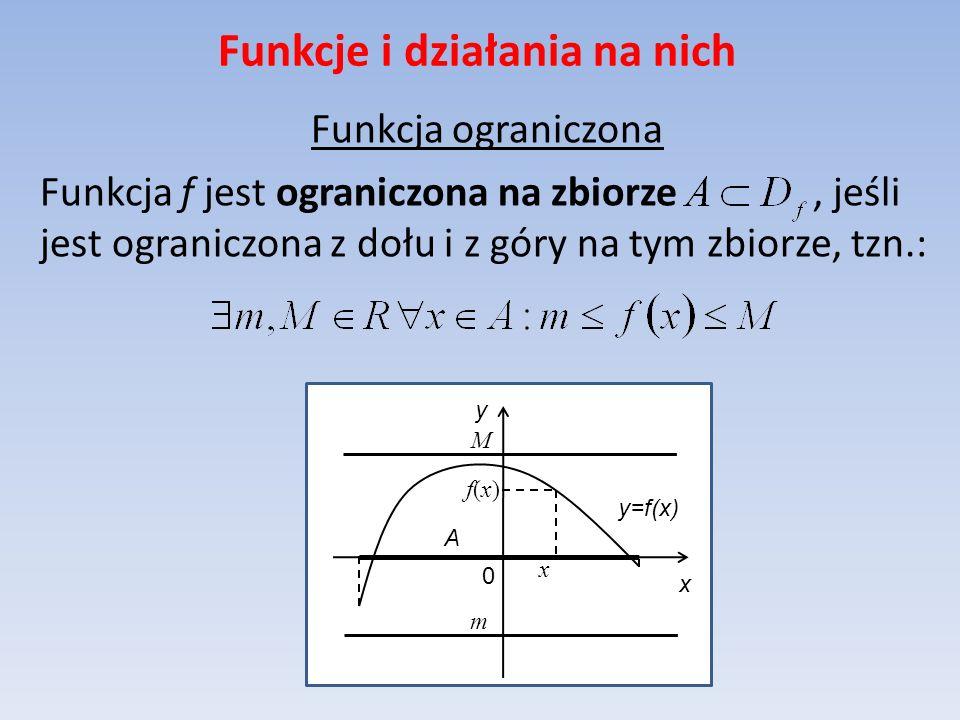 Funkcje i działania na nich Funkcja ograniczona Funkcja f jest ograniczona na zbiorze, jeśli jest ograniczona z dołu i z góry na tym zbiorze, tzn.: y=