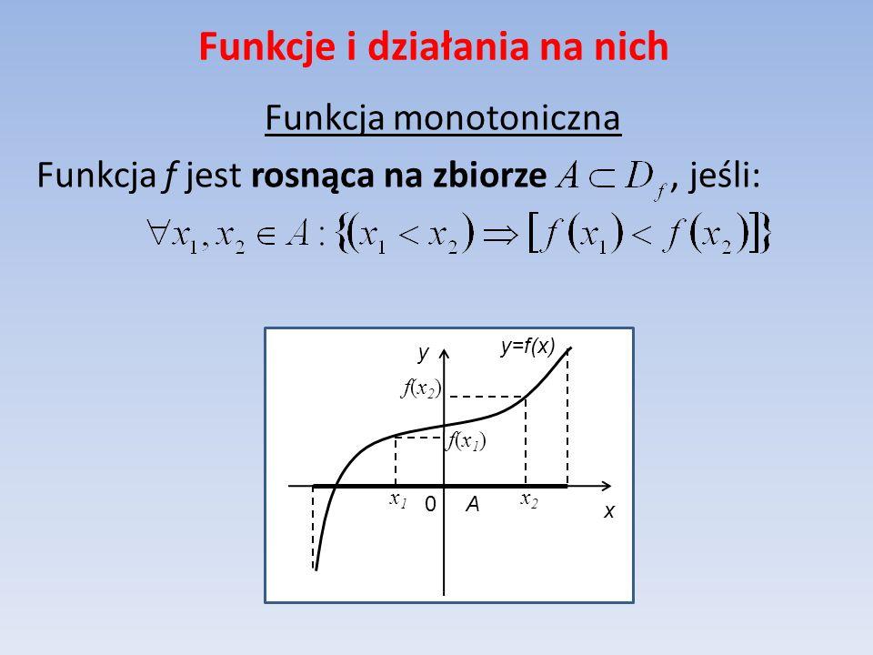 Funkcje i działania na nich Funkcja monotoniczna Funkcja f jest rosnąca na zbiorze, jeśli: y=f(x) x y 0 A x2x2 f(x2)f(x2) f(x1)f(x1) x1x1