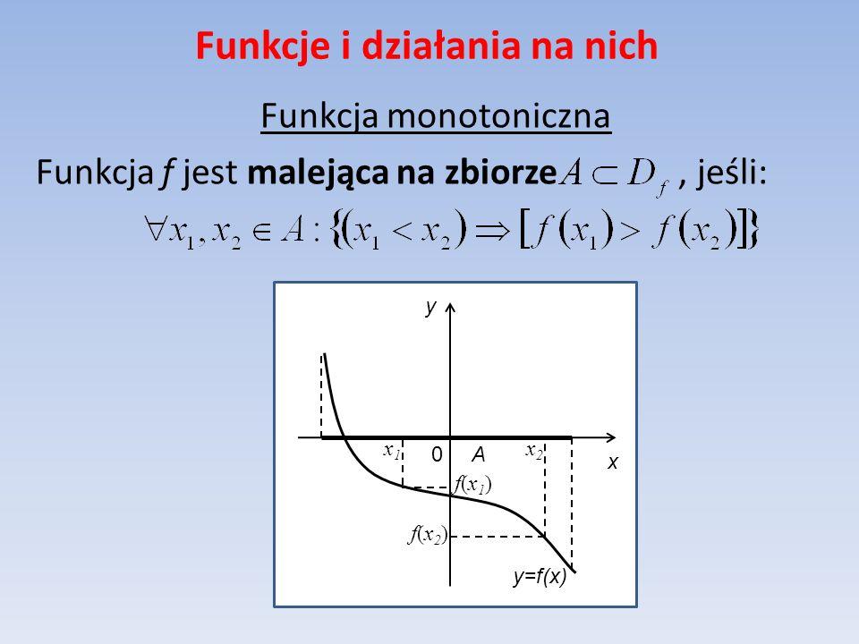 Funkcje i działania na nich Funkcja monotoniczna Funkcja f jest malejąca na zbiorze, jeśli: y=f(x) x y 0 A x2x2 f(x2)f(x2) f(x1)f(x1) x1x1