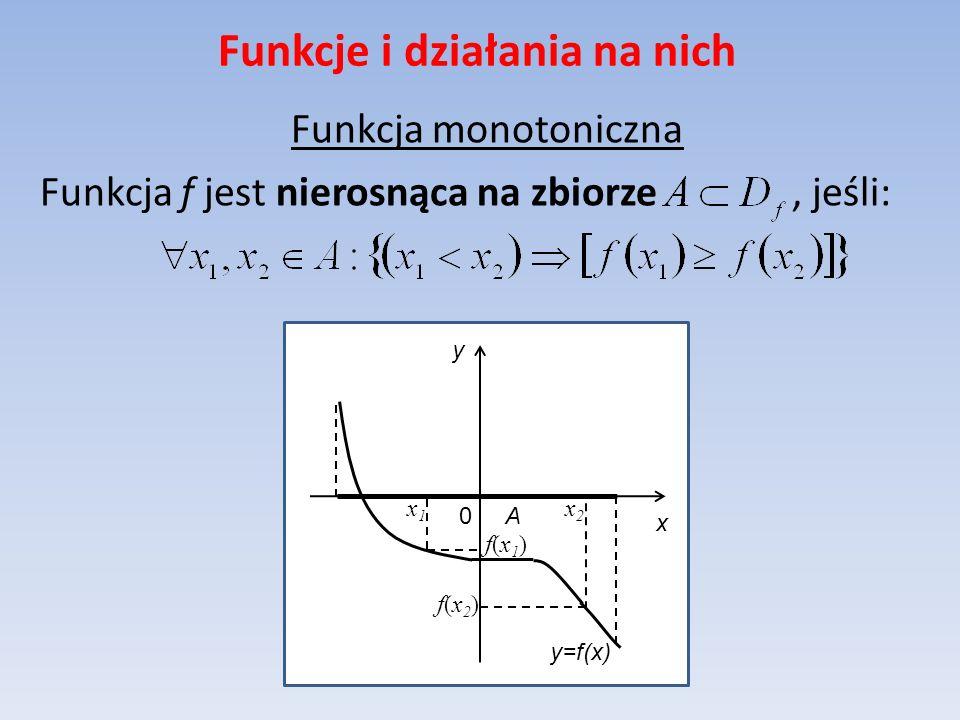 Funkcje i działania na nich Funkcja monotoniczna Funkcja f jest nierosnąca na zbiorze, jeśli: y=f(x) x y 0 A x2x2 f(x1)f(x1) x1x1 f(x2)f(x2)