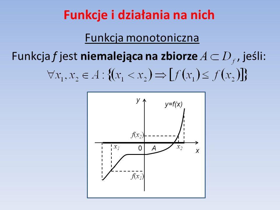 Funkcje i działania na nich Funkcja monotoniczna Funkcja f jest niemalejąca na zbiorze, jeśli: y=f(x) x y 0 A x2x2 f(x1)f(x1) x1x1 f(x2)f(x2)