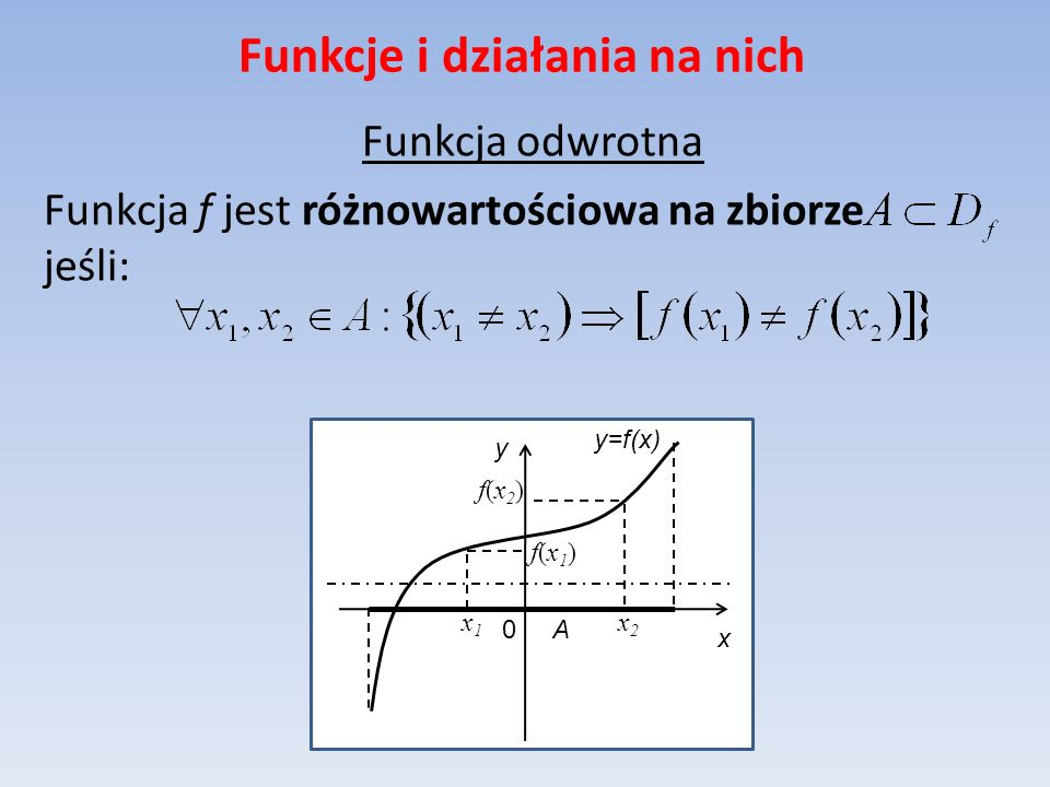 Funkcje i działania na nich Funkcja odwrotna Funkcja f jest różnowartościowa na zbiorze jeśli: y=f(x) x y 0 A x2x2 f(x2)f(x2) f(x1)f(x1) x1x1