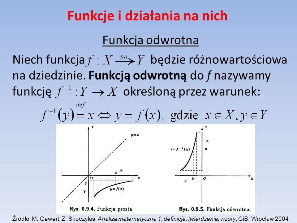 Funkcje i działania na nich Funkcja odwrotna Niech funkcja będzie różnowartościowa na dziedzinie. Funkcją odwrotną do f nazywamy funkcję określoną prz