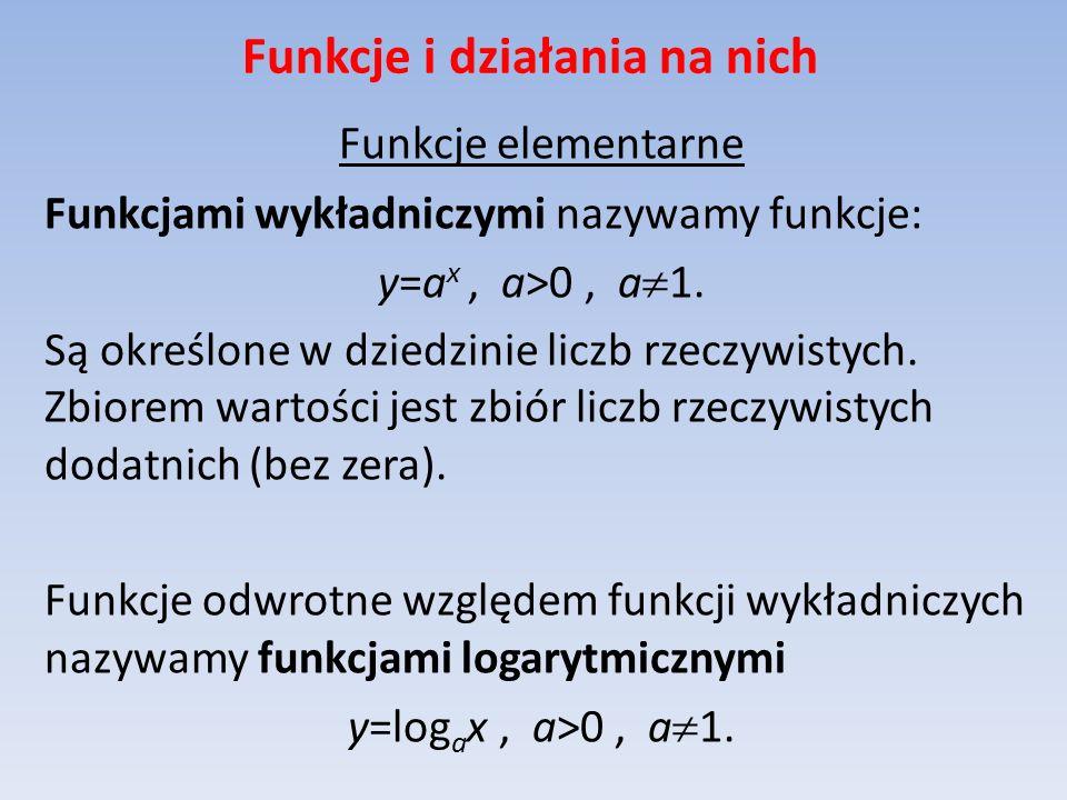 Funkcje i działania na nich Funkcje elementarne Funkcjami wykładniczymi nazywamy funkcje: y=a x, a>0, a 1. Są określone w dziedzinie liczb rzeczywisty