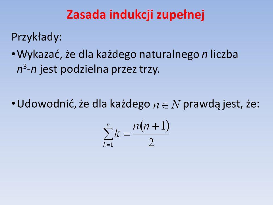 Zasada indukcji zupełnej Przykłady: Wykazać, że dla każdego naturalnego n liczba n 3 -n jest podzielna przez trzy. Udowodnić, że dla każdego prawdą je