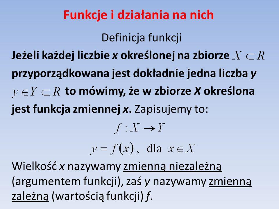 Funkcje i działania na nich Definicja funkcji Jeżeli każdej liczbie x określonej na zbiorze przyporządkowana jest dokładnie jedna liczba y to mówimy,