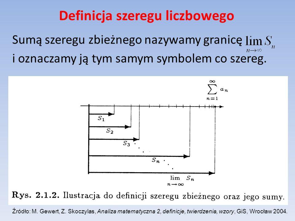 Definicja szeregu liczbowego Sumą szeregu zbieżnego nazywamy granicę i oznaczamy ją tym samym symbolem co szereg. Źródło: M. Gewert, Z. Skoczylas, Ana