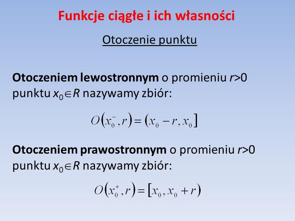 Funkcje ciągłe i ich własności Otoczenie punktu Otoczeniem lewostronnym o promieniu r>0 punktu x 0 R nazywamy zbiór: Otoczeniem prawostronnym o promie