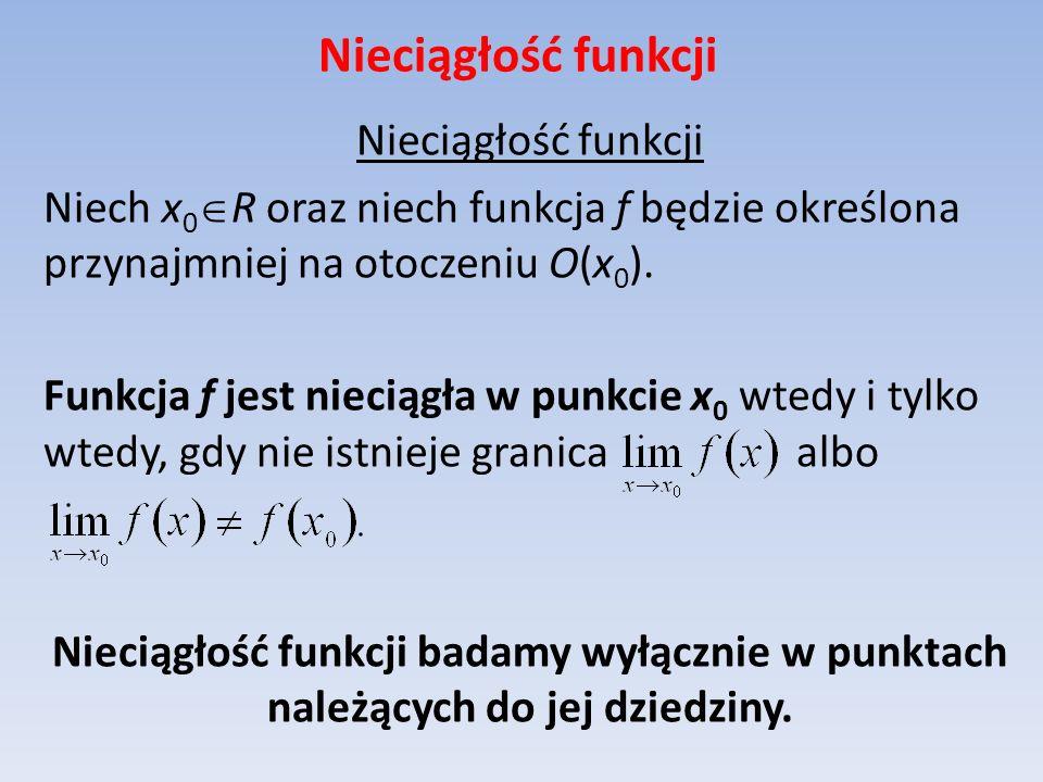 Nieciągłość funkcji Niech x 0 R oraz niech funkcja f będzie określona przynajmniej na otoczeniu O(x 0 ). Funkcja f jest nieciągła w punkcie x 0 wtedy