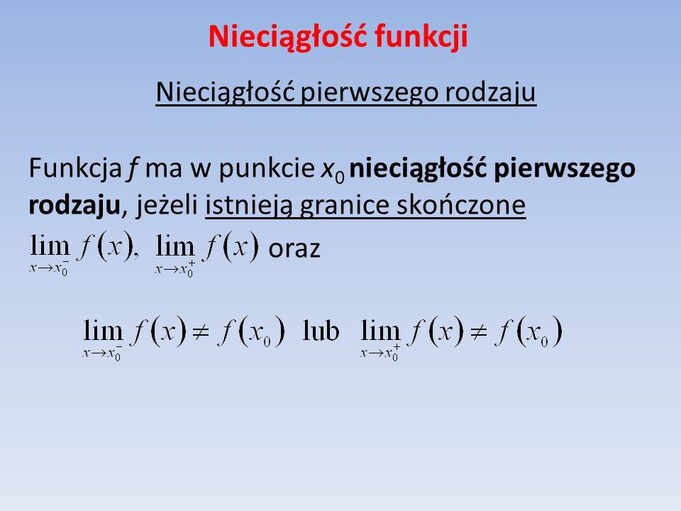 Nieciągłość funkcji Nieciągłość pierwszego rodzaju Funkcja f ma w punkcie x 0 nieciągłość pierwszego rodzaju, jeżeli istnieją granice skończone oraz
