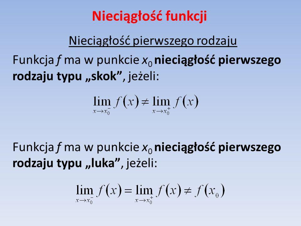 Nieciągłość funkcji Nieciągłość pierwszego rodzaju Funkcja f ma w punkcie x 0 nieciągłość pierwszego rodzaju typu skok, jeżeli: Funkcja f ma w punkcie