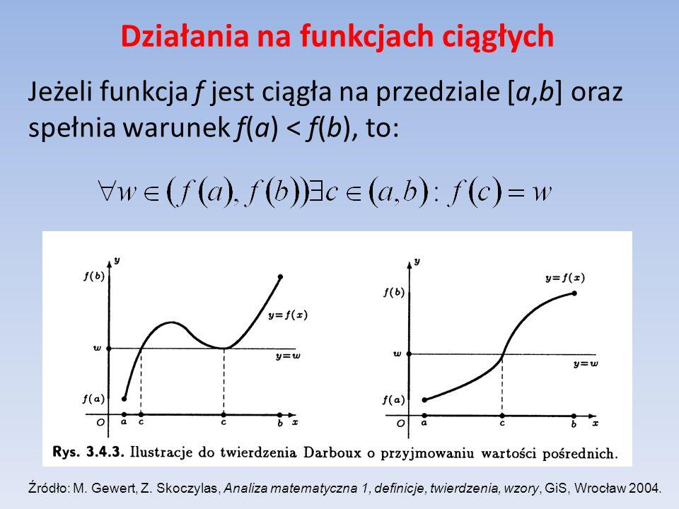 Działania na funkcjach ciągłych Jeżeli funkcja f jest ciągła na przedziale [a,b] oraz spełnia warunek f(a) < f(b), to: Źródło: M. Gewert, Z. Skoczylas
