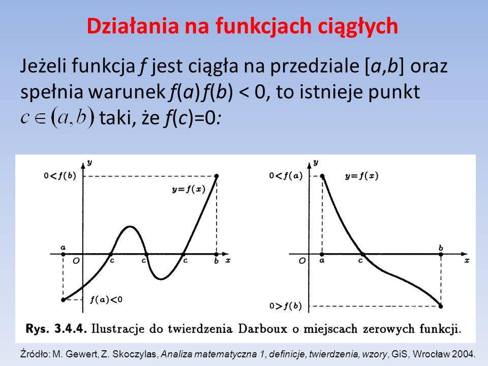 Działania na funkcjach ciągłych Jeżeli funkcja f jest ciągła na przedziale [a,b] oraz spełnia warunek f(a) f(b) < 0, to istnieje punkt taki, że f(c)=0
