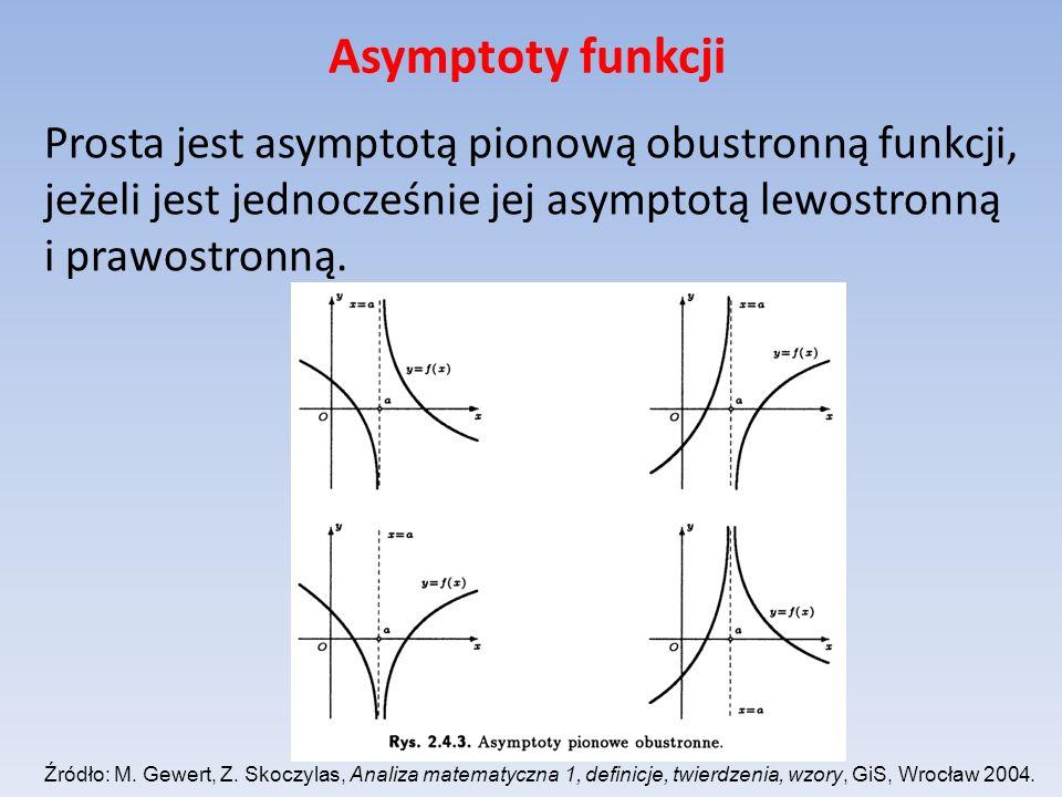 Asymptoty funkcji Prosta jest asymptotą pionową obustronną funkcji, jeżeli jest jednocześnie jej asymptotą lewostronną i prawostronną. Źródło: M. Gewe