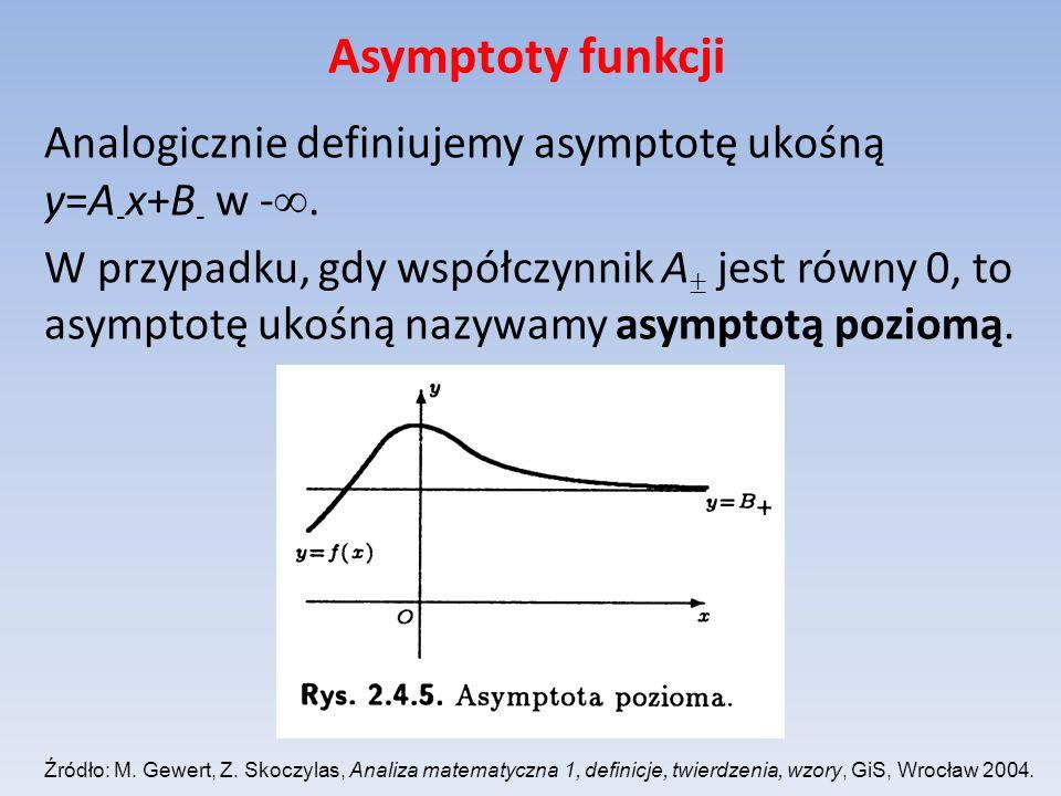 Asymptoty funkcji Analogicznie definiujemy asymptotę ukośną y=A - x+B - w -. W przypadku, gdy współczynnik A jest równy 0, to asymptotę ukośną nazywam
