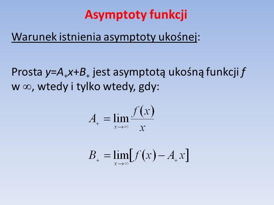 Asymptoty funkcji Warunek istnienia asymptoty ukośnej: Prosta y=A + x+B + jest asymptotą ukośną funkcji f w, wtedy i tylko wtedy, gdy: