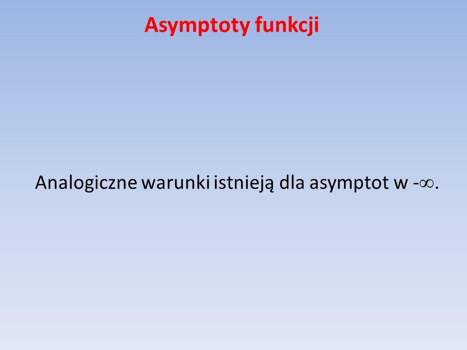 Asymptoty funkcji Analogiczne warunki istnieją dla asymptot w -.