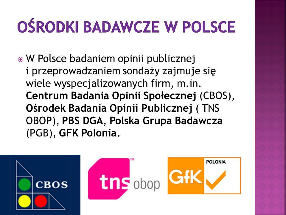 W Polsce badaniem opinii publicznej i przeprowadzaniem sondaży zajmuje się wiele wyspecjalizowanych firm, m.in. Centrum Badania Opinii Społecznej (CBO