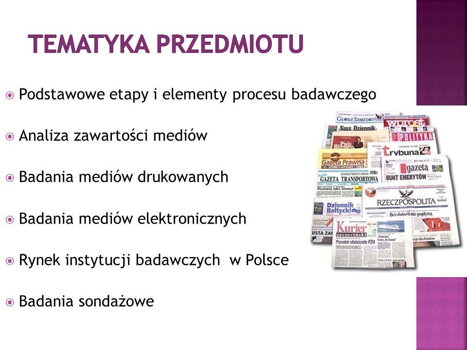 Podstawowe etapy i elementy procesu badawczego Analiza zawartości mediów Badania mediów drukowanych Badania mediów elektronicznych Rynek instytucji badawczych w Polsce Badania sondażowe