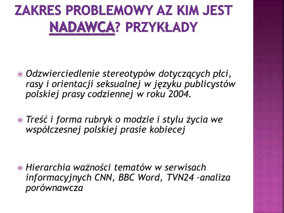 Odzwierciedlenie stereotypów dotyczących płci, rasy i orientacji seksualnej w języku publicystów polskiej prasy codziennej w roku 2004. Treść i forma