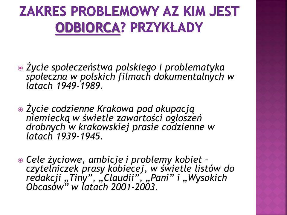 Życie społeczeństwa polskiego i problematyka społeczna w polskich filmach dokumentalnych w latach 1949-1989. Życie codzienne Krakowa pod okupacją niem