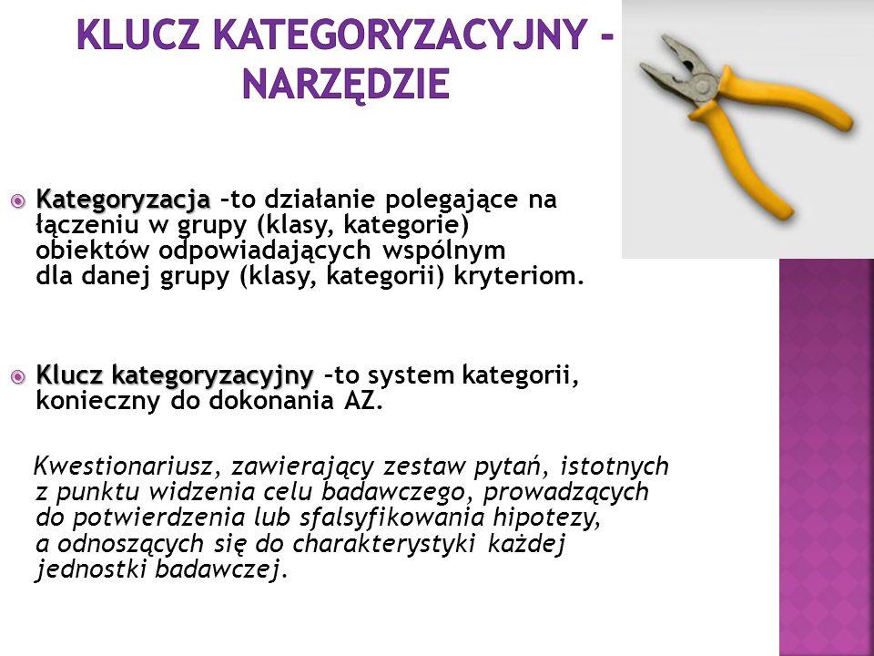 Kategoryzacja Kategoryzacja –to działanie polegające na łączeniu w grupy (klasy, kategorie) obiektów odpowiadających wspólnym dla danej grupy (klasy,