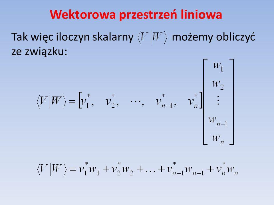 Wektorowa przestrzeń liniowa Tak więc iloczyn skalarny możemy obliczyć ze związku: