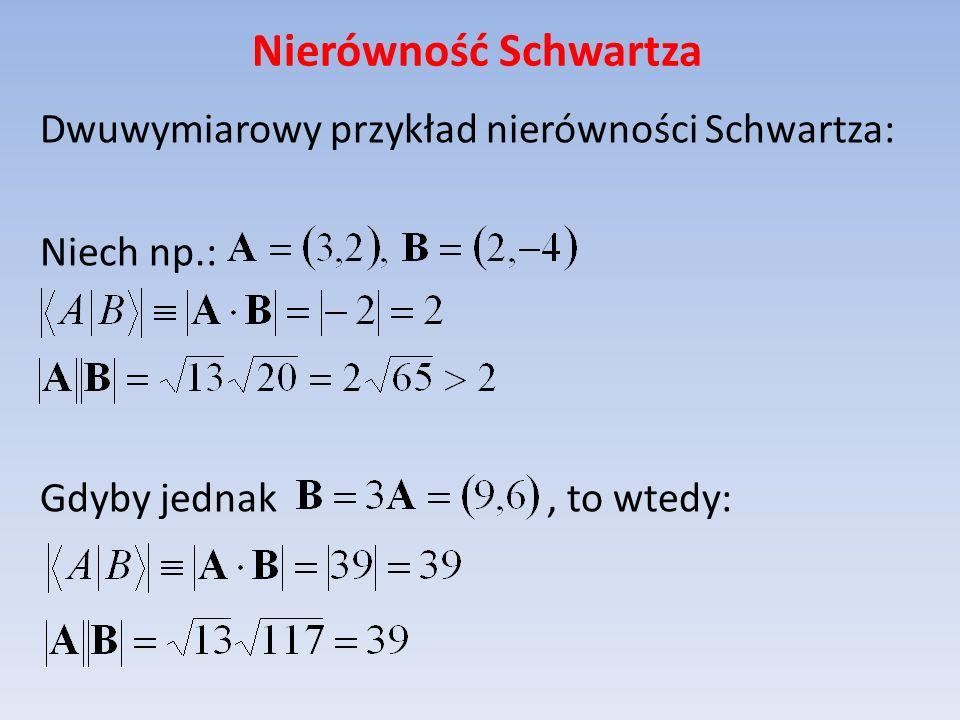 Nierówność Schwartza Dwuwymiarowy przykład nierówności Schwartza: Niech np.: Gdyby jednak, to wtedy: