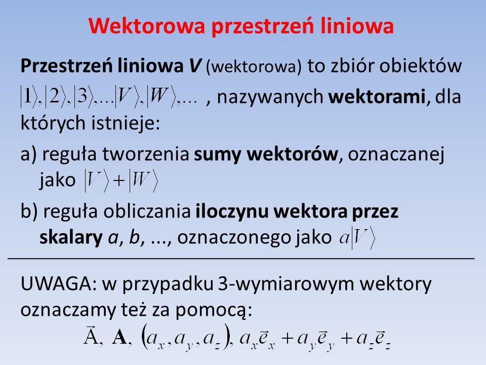 Wektorowa przestrzeń liniowa Przestrzeń liniowa V (wektorowa) to zbiór obiektów, nazywanych wektorami, dla których istnieje: a) reguła tworzenia sumy
