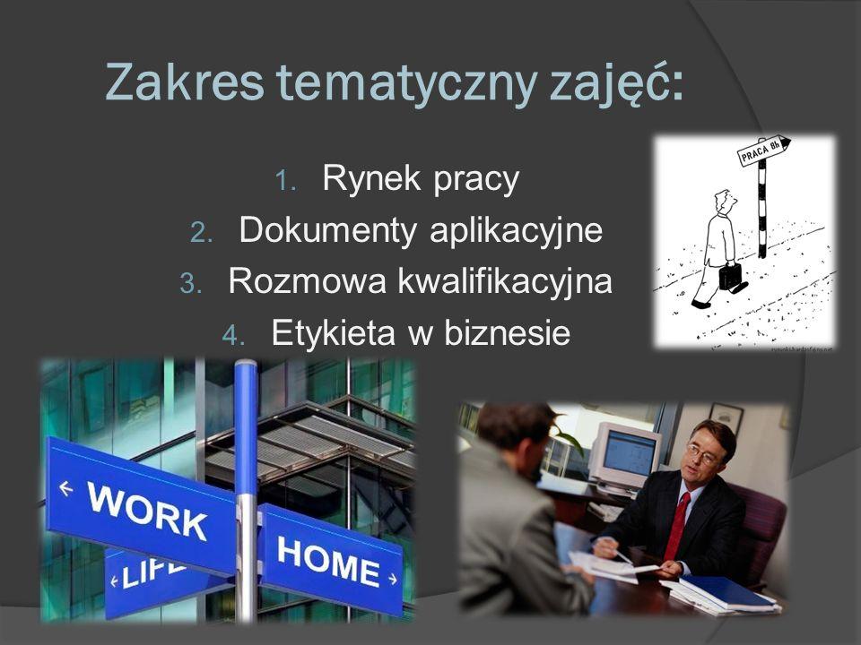 Zakres tematyczny zajęć: 1. Rynek pracy 2. Dokumenty aplikacyjne 3. Rozmowa kwalifikacyjna 4. Etykieta w biznesie