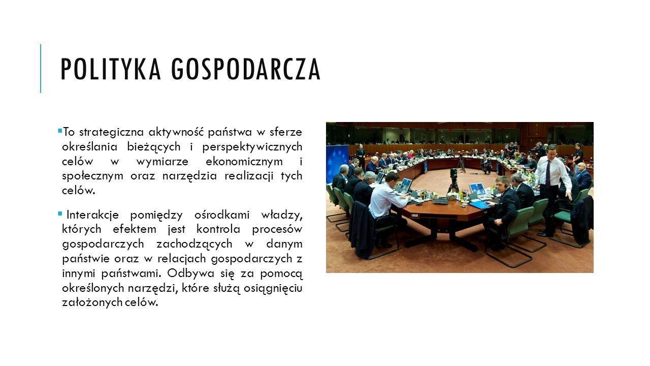 POLITYKA GOSPODARCZA To strategiczna aktywność państwa w sferze określania bieżących i perspektywicznych celów w wymiarze ekonomicznym i społecznym or