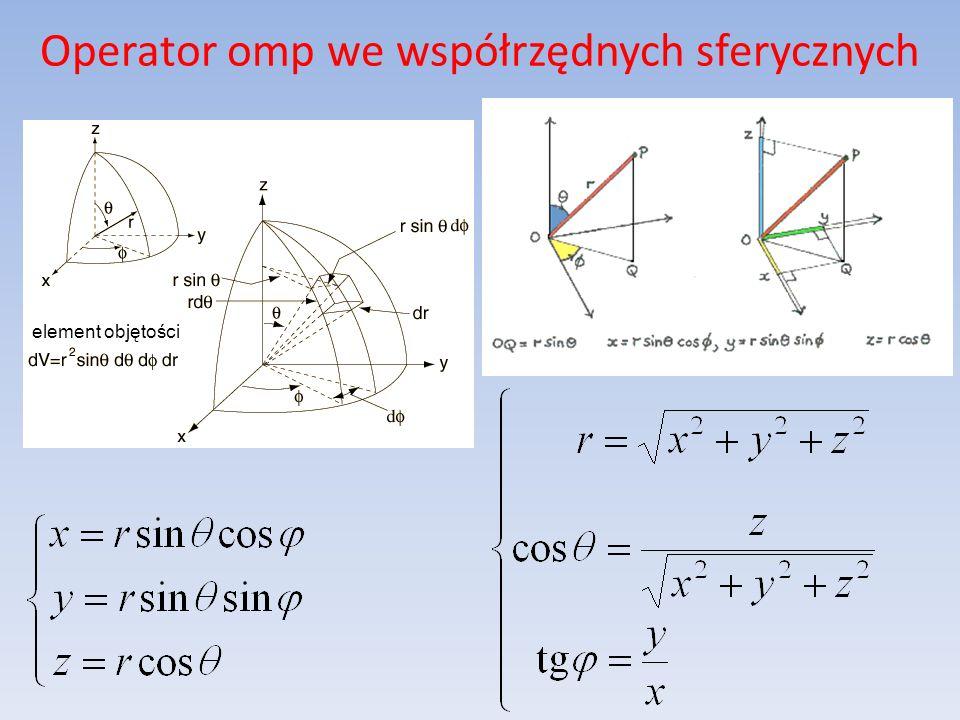 Operator omp we współrzędnych sferycznych element objętości