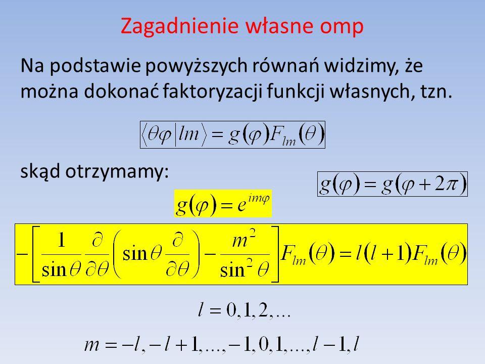 Zagadnienie własne omp Na podstawie powyższych równań widzimy, że można dokonać faktoryzacji funkcji własnych, tzn. skąd otrzymamy: