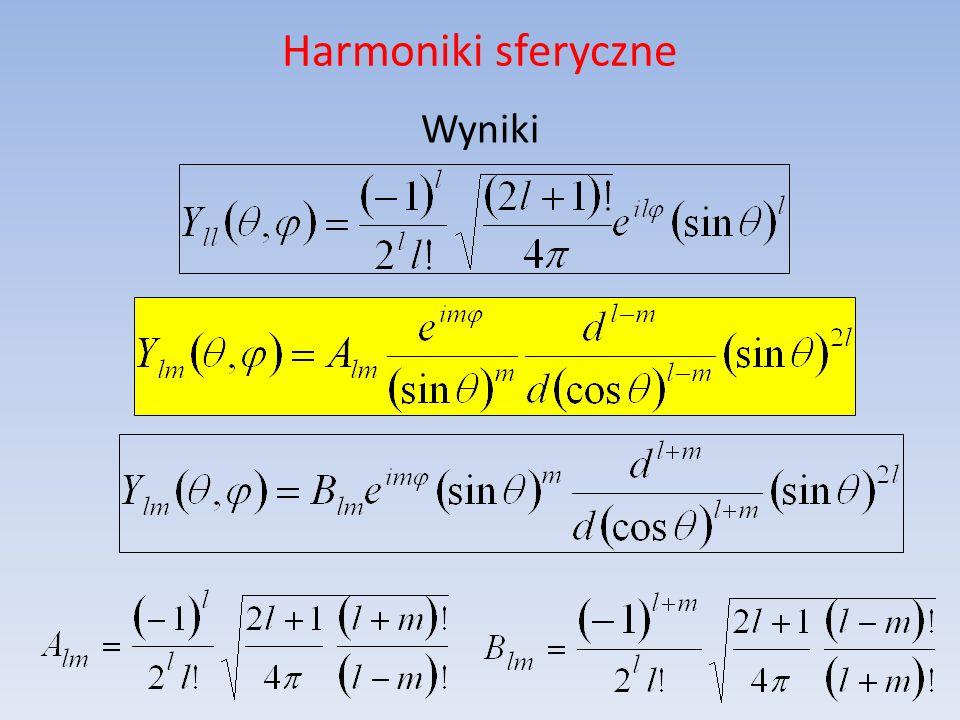 Harmoniki sferyczne Wyniki