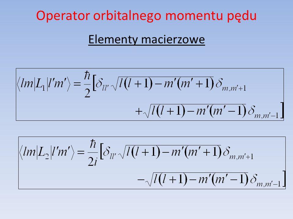 Operator orbitalnego momentu pędu Elementy macierzowe