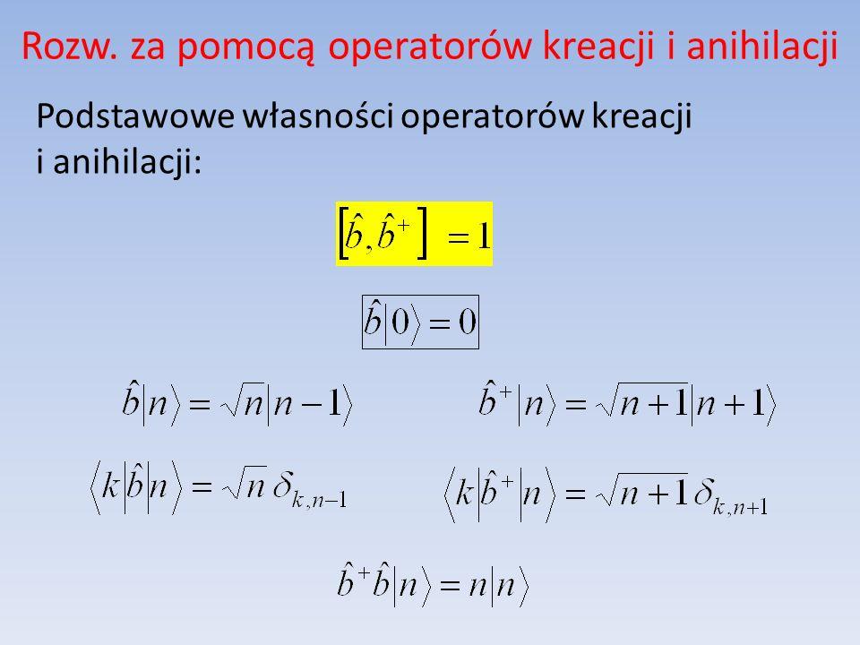 Rozw. za pomocą operatorów kreacji i anihilacji Podstawowe własności operatorów kreacji i anihilacji: