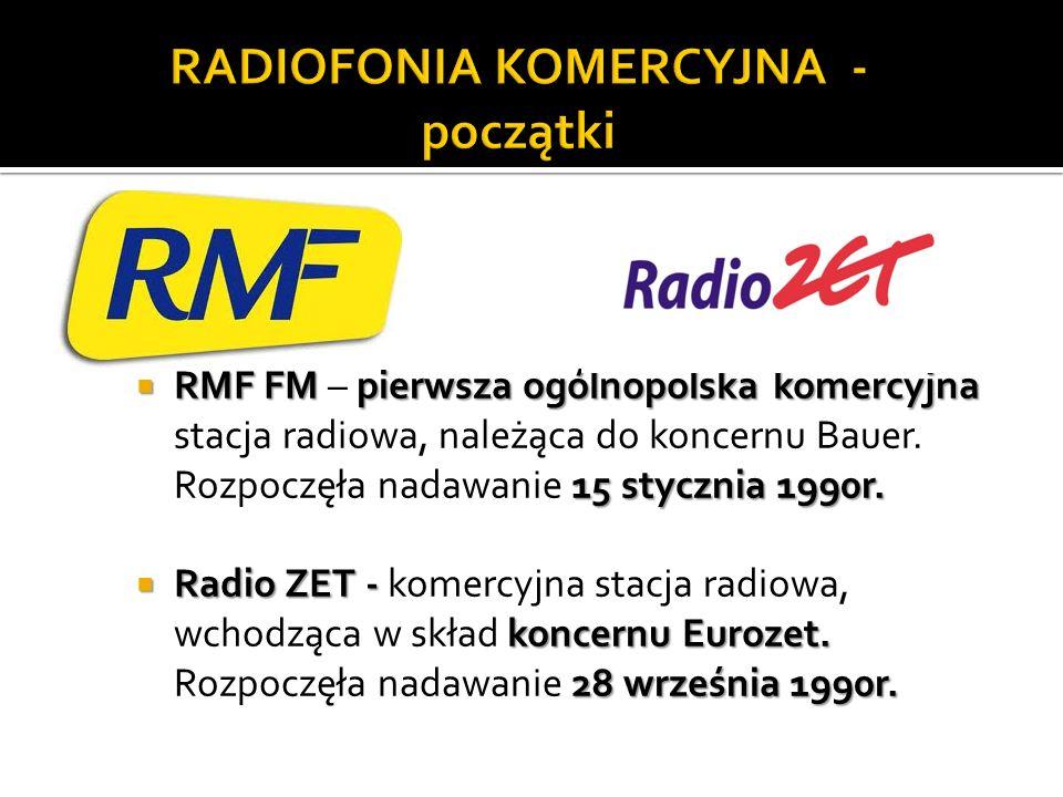 RMF FM pierwsza ogólnopolska komercyjna 15 stycznia 1990r. RMF FM – pierwsza ogólnopolska komercyjna stacja radiowa, należąca do koncernu Bauer. Rozpo