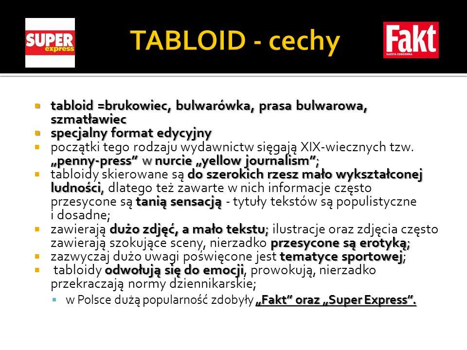 tabloid =brukowiec, bulwarówka, prasa bulwarowa, szmatławiec tabloid =brukowiec, bulwarówka, prasa bulwarowa, szmatławiec specjalny format edycyjny sp