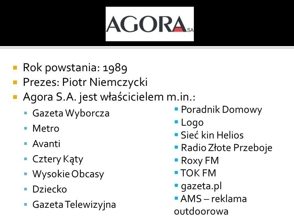 Rok powstania: 1989 Prezes: Piotr Niemczycki Agora S.A. jest właścicielem m.in.: Gazeta Wyborcza Metro Avanti Cztery Kąty Wysokie Obcasy Dziecko Gazet