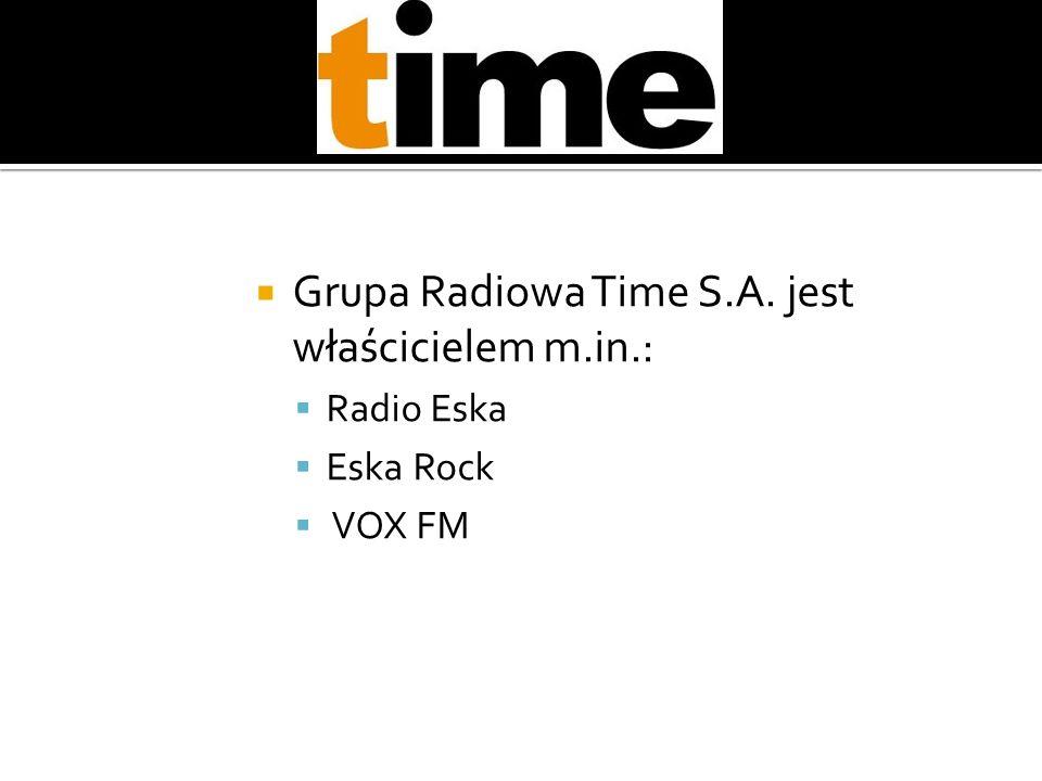 Grupa Radiowa Time S.A. jest właścicielem m.in.: Radio Eska Eska Rock VOX FM