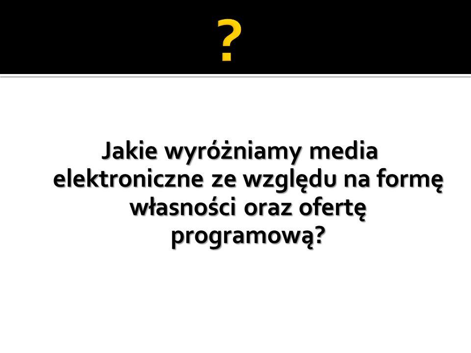 Jakie wyróżniamy media elektroniczne ze względu na formę własności oraz ofertę programową?