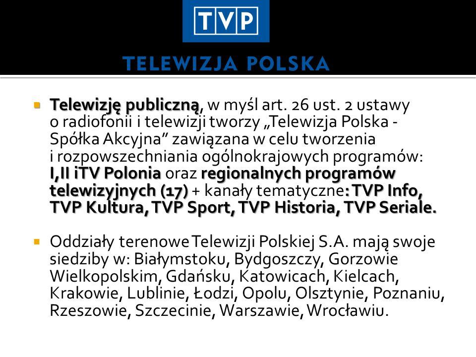 Telewizję publiczną I,II iTV Polonia regionalnych programów telewizyjnych (17): TVP Info, TVP Kultura, TVP Sport, TVP Historia, TVP Seriale. Telewizję