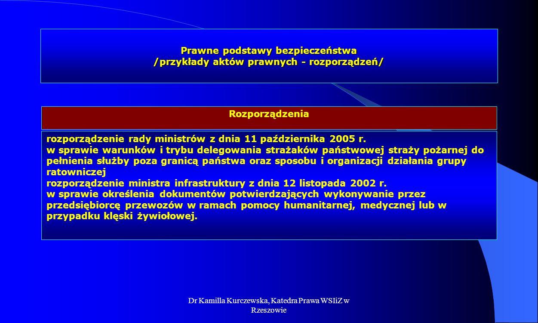 Dr Kamilla Kurczewska, Katedra Prawa WSIiZ w Rzeszowie Prawne podstawy bezpieczeństwa /przykłady aktów prawnych - rozporządzeń/ rozporządzenie rady mi