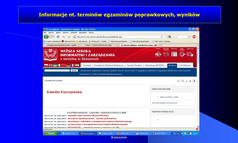Dr Kamilla Kurczewska, Katedra Prawa WSIiZ w Rzeszowie Informacje nt. terminów egzaminów poprawkowych, wyników